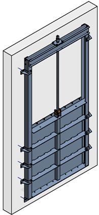 schéma simplifié d'une vanne en matière inox de 1000mm à 1200mm